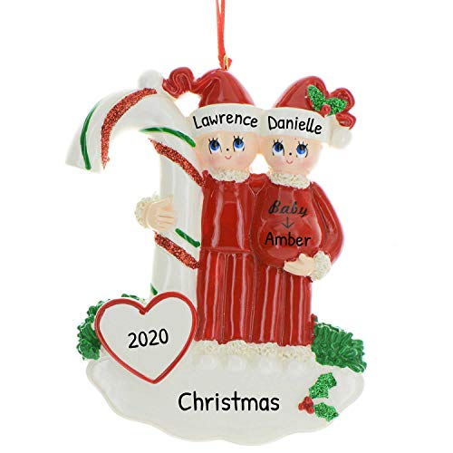 Personalized Candy Cane Pregnant Couple Christmas Tree Ornament 2020 - Baby Expecting New Parent Red Santa Hat Bump Shower Nursery Daughter PJs Neutral Off Hospital Mom Dad to Be - Free Customization