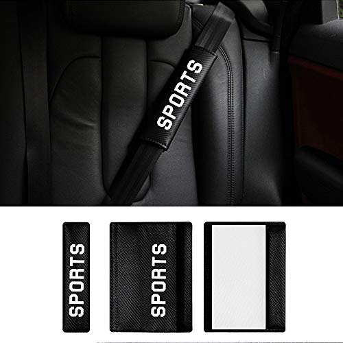 Voiture Ceinture de sécurité Pads Cuir PU pour KA Fiesta St B-Max Focus St RS avec Sports Autocollants Blancs, Lot de 2