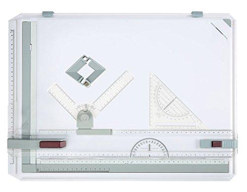 A3 Tablero de dibujo, Mesa de dibujo Profesional, Geo Board Tablero de dibujo con Movimiento Paralelo y Reglas de Ángulo Ajustable