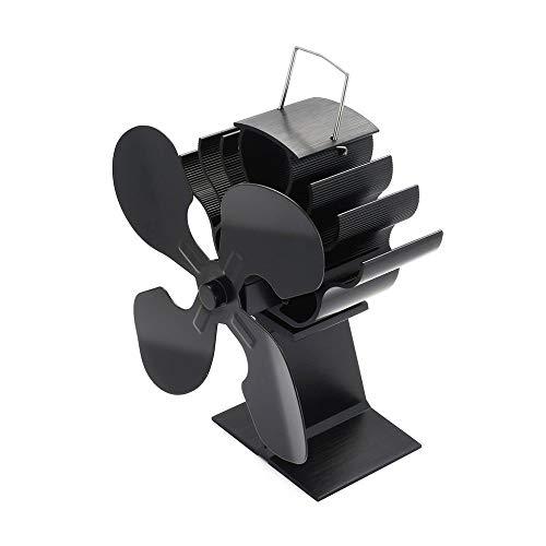 ATEYC Schreibtisch-Ventilator, 4-Blatt Hitze Powered Herd Lüfter for Holz/Holzofen/Kamin