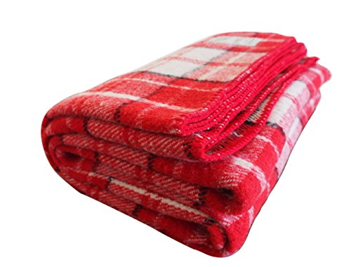 Woolly Mammoth Woolen Company Farmhouse Collection Thick Warm Wool Blanket The Perfect complement to Your Country Home Decor Use as Oversized Throw or Additional Layer on The Bed | Red Cream Black