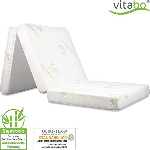 Vitabo Klappmatratze Gästebett mit weichem Bambusbezug I 3-teilige Faltmatratze Gästematratze faltbar klappbar - schadstofffrei (195x70x10cm)
