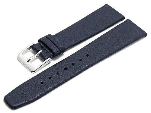 Meyhofer Uhrenarmband Steinfurt 18mm dunkelblau Leder fein genarbt ohne Naht MyGfklb1509/18mm/dblau/oN