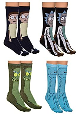 Holiday 4-Pack Jacquard Knit Unisex Crew Socks Gift Sets (Rick and Morty)