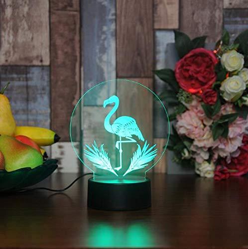 Flamingo's Led-nachtlampje, acryl, 7 kleuren, wisselende kleuren, 3D-verlichting, led-bureaulamp, tafellamp, lamp voor babyslampen, kerstcadeau, nachtlichtverjaardagscadeau