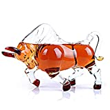 Animal Decanters Large 35-Oz Charging Bull Glass Figurine, Mouthblown Liquor Decanter For Bourbon, Whiskey, Scotch