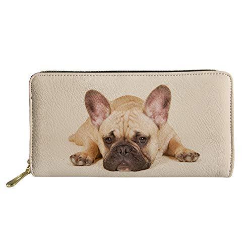 FancyPrint French Bulldog Print Womens Girls Long Wallet Zip Around Purse ID Card Credit Card Holder Organizer Pouch Bag