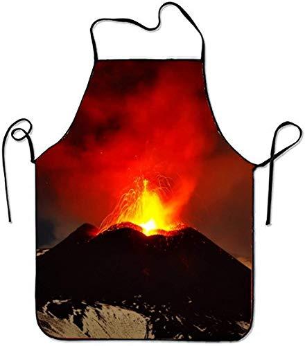 N\A El volcán ETNA de Italia entra en erupción, iluminando el Cielo sobre Sicilia Delantal con Peto para Delantales