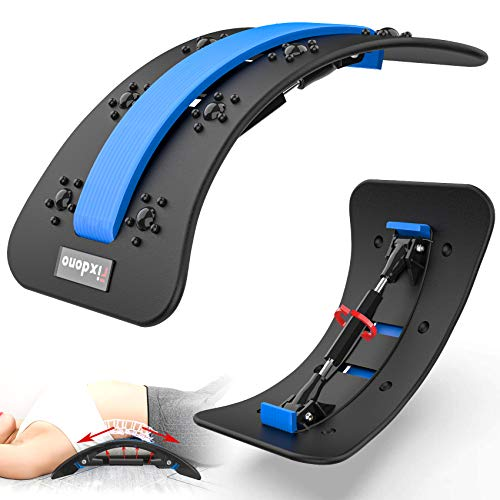 Fixdono Back Stretcher, Back Stretching Device, Adjustable Lumbar Stretching/Support Spine Deck Back Massager for Lower Back Pain Relief, Sciatica, Spine Decompression, Improves Posture