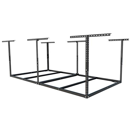 FLEXIMOUNTS 4x8 Overhead Garage Storage Rack without Decking Adjustable Ceiling Garage Rack Heavy Duty, 600lbs Weight Capacity 96' Length x 48' Width x (22''-40' Ceiling Dropdown), Black