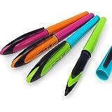 Paquete de 4 bolígrafos de 0,5 mm de Uni-Ball Air, tinta negra en bolígrafos de color azul, verde, rosa y naranja, UBA-188E-M