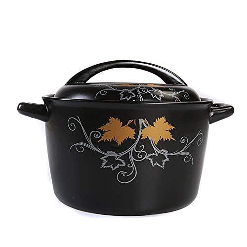 Olla de cocina saludable Cazuela de cerámica de 3,1 l, batería de cocina saludable de cerámica con tapa, batería de cocina saludable resistente al calor, adecuada para estufa de cerámica eléctrica