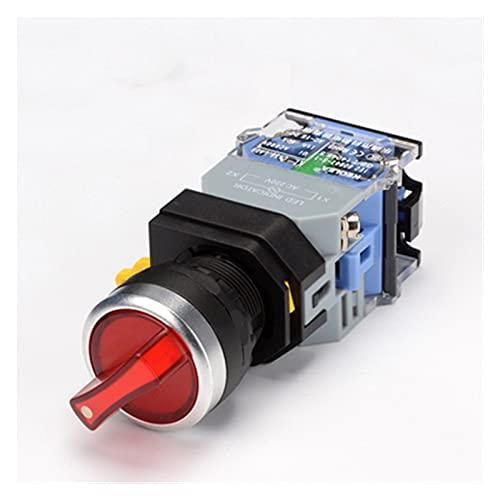 SRQOESFF Commutateur rotatif Interruptor de botón Giratorio de 1 UNIDS con Ligh 22mm 2 Posición 3 Posición Llateado LED Interruptores Red Green Head la38-11xd / 2 (Color : Red, Size : 2 Position)