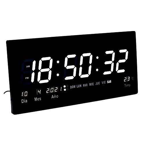 JEVX Reloj Digital de Pared Grande para Colgar, Alarma, Iluminacion en Color Blanco, Calendario, Medidor de Temperatura, Fuente de Alimentacion, Termometro