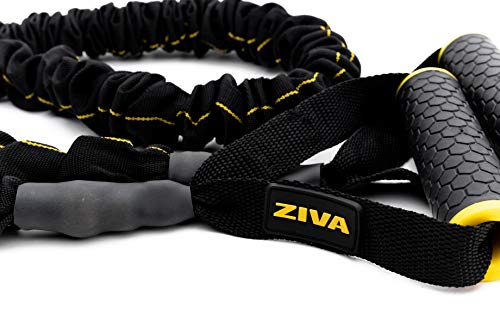 ZIVA Portable Lightweight Resistance Tube Band - Multiple Resistance Avail - Nylon Safety Sleeve and Foam Handles for Home Fitness, Strength Training, Cross Workouts – Extra Heavy 45-50lbs