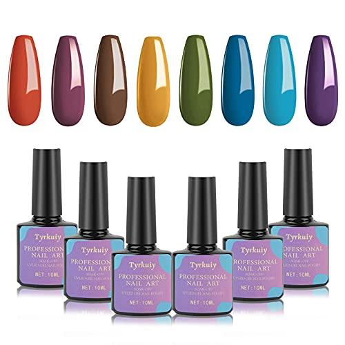 Esmaltes Semipermanentes,8PCS Pintauñas Semipermanente Pintauñas Gel Color Pastel Gel Polish Gel UV LED Esmaltes en Gel Soak Off 10ML