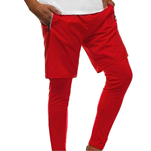 Herren Shorts Solid Color Doppellagige elastische Taille Lose Mode und Bequeme Fitness Laufhose X-Large