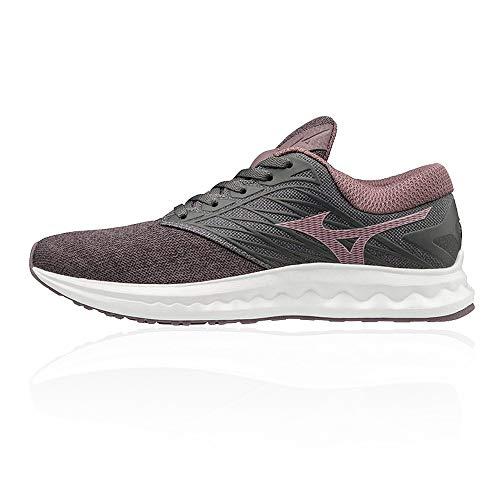 Mizuno Wave Polaris, Zapatillas de Running Mujer, Gris Excalibur Lilas Fiery Coral 67, 38.5 EU