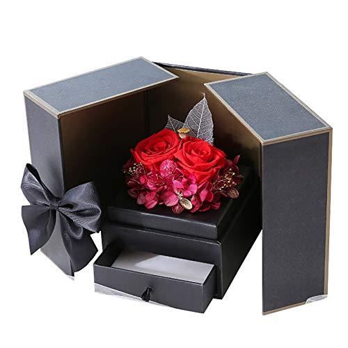 WANGJ Caja De Regalo De Joyería De Flores Preservadas Regalo Romántico Decorado con Flores Caja De Regalo De Fiesta De Cumpleaños Caja De Almacenamiento De Joyas para Mujer