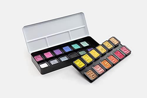 Finetec K-F2400-A 30 mm Perlglanzfarben 24 Stück im Metallkasten + Gratis Farbnapf, Gummi Arabicum, Pigmenten, Metall, 1 (1er Pack)