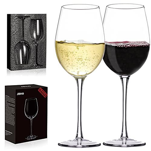 Crystal Wine Glasses - Hand Blown Red or White Wine Glasses -18 Ounce - Set of 2 - Lead-Free Premium Crystal - Long Stem Wine Glasses - Clear