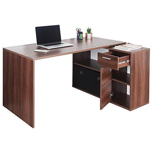 RICOO Schreibtisch Winkelkombination (WM083-OW) Holz Braun Walnuss (Modell- & Farbauswahl) Büro-Arbeitstisch Computertisch Eckschreibtisch Lowboard...