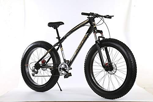 Freedomn 7/21/24/27 Speed Bicicleta de montaña 26 * 4.0 Fat Tire Bikes amortiguadores Bicicleta Nieve Bicicleta, Color Negro y Verde, tamaño 7 Speed