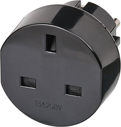 Brennenstuhl adaptador de enchufe de viaje para GB - enchufe britanico (adaptador para enchufar dispositivos inglés en en el sistema de conector de tierra) negro
