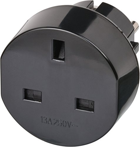 Brennenstuhl Reisestecker / Reiseadapter (Reise-Steckdosenadapter für: Euro Steckdose und England Stecker) schwarz