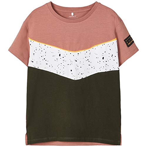 NAME IT Jungen NKMFHIP SS Boxy TOP T-Shirt, Burlwood, 122-128