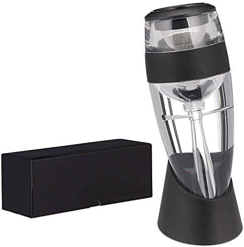 Relaxdays - Set decanter per vino con filtro per vino, in sacchetto regalo, decanter per vino rosso, vetro, PP, nero trasparente