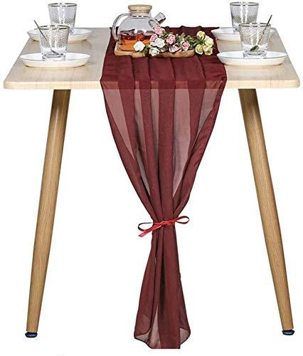 1PCS Chemin de table en mousseline de soie pour café, thé, décoration de mariage, fête d anniversaire, Chemin de table transparent pour mariage rustique 70*300CM(27inch *120inch ) (vin rouge)
