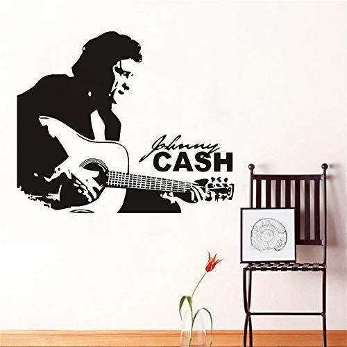 GVFTG beroemde Amerikaanse country-muziek zanger muursticker vinyl sticker Home Kids Boy kamer interieur decoratie Retro Art Black muurschildering 58X70cm