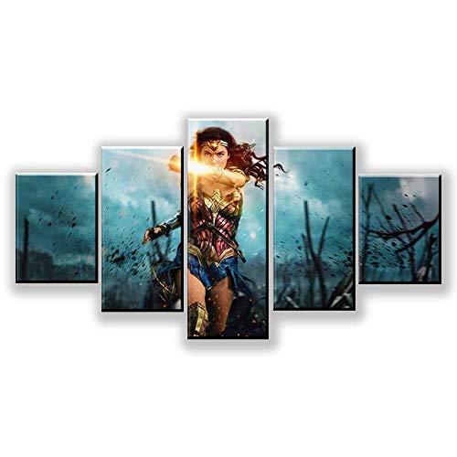 MXLYR Lienzo HD Imprime Carteles Home DEC Pintura de Arte de Pared Moderno 5 Paneles imágenes de Mujer decoración de Sala de Estar