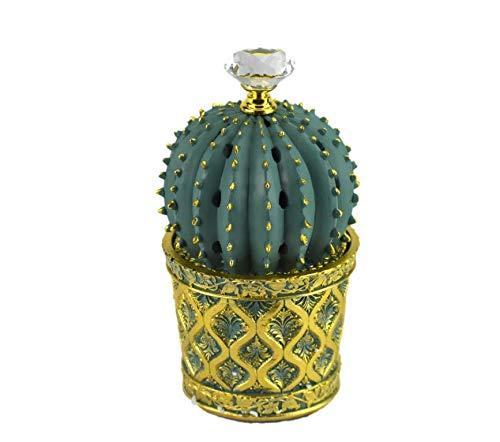 INTENSE OUD Succulent (Cactus) Style Closed Incense Bakhoor Burner I Frankincense Resin Burner I Office & Home Decor I Arabia Bakhoor/Oudh/Oud Burner (Mabkhara) I Metal Tray 7 inch Tall I Teal I