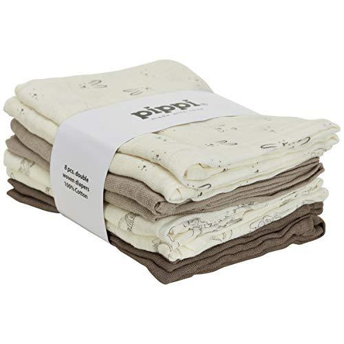 Pippi Mulltücher 8er-Pack Creme/beige/Taupe Größe 70x70 cm