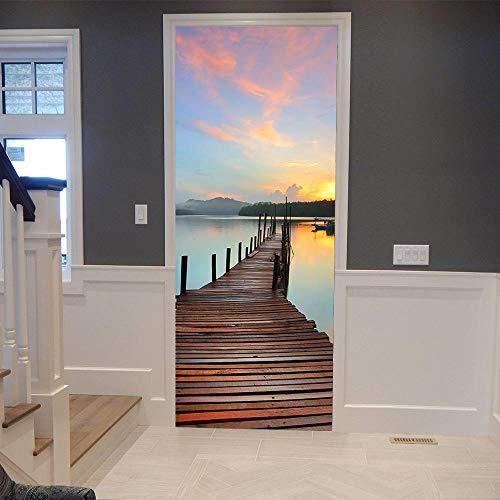 BXZGDJY 3D-deursticker, deurfolie, zonsondergangwaterbrug, 90 x 200 cm, 3D-deursticker, vc, zelfklevend, waterdicht, afneembaar, voor decoratie, muurfoto, deurbehang, zelfklevend deurposter