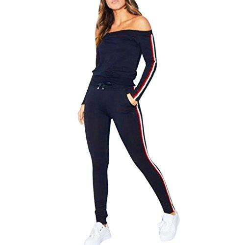 Kolylong® Sweatshirt Damen 1 Set Frauen Elegant Sport Outfits Trägerlos Langarm Bluse + Hose Lange Casual Sportanzug Yoga Fitness Jogging Sportkleidung (Marine, S)