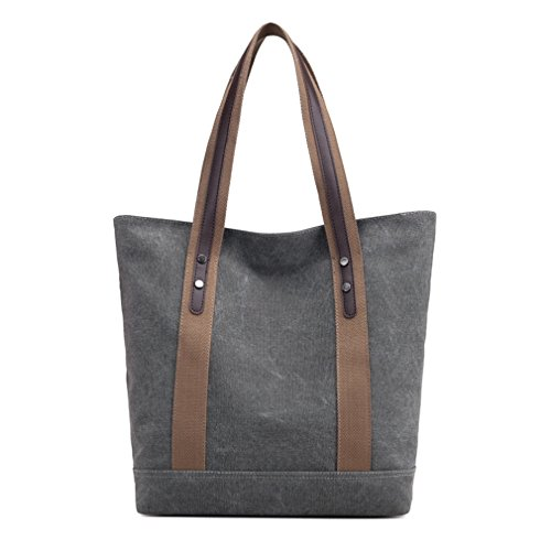 Women's Canvas Shoulder Bags Retro Casual Handbags Work Bag Tote Purses (Grey)