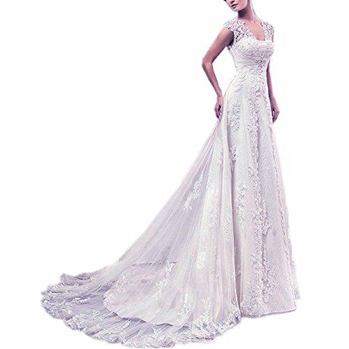 EVANKOU Damen Lang Spitze Brautkleider Hochzeitskleid Vintage mit Träger Rückenfrei Weiß Große Größen 48