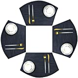 Bright Dream Wedge Placemats for Round Table Woven Vinyl Non Slip Plastic Table Mats Set of 4(Navy)