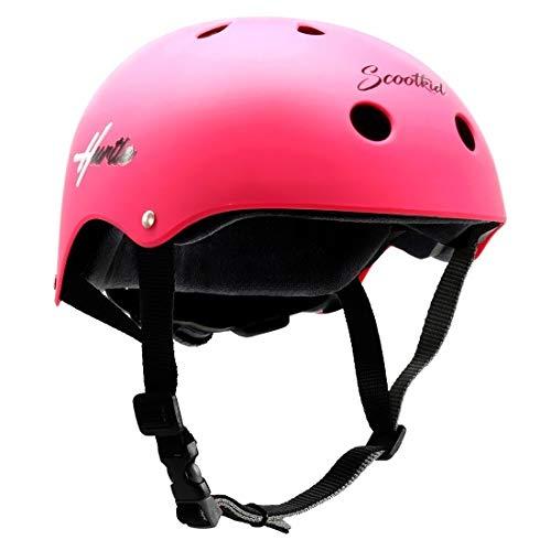 Hurtle Sports Safety Bicycle Kids Helmet - Toddler & Child Bike Helmet w/Adjust Knob, Chin Strap, Ventilation -Toddlers/Childrens Helmet for Cycling/Skateboarding/Kick Board/Scooter HURHLP48 (Pink)