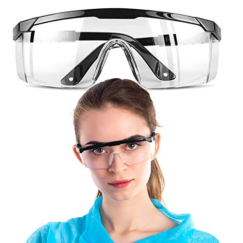 Safety Glasses, Safety Goggles, Adjustable Wide-Vision Protective Glasses, Lightweight Clear Fog-Proof Protective Eyewear