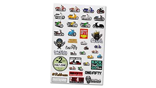 One:Fifty Stickerbogen (40 Sticker, Aufkleber) matt passt für alle Simson Fahrer