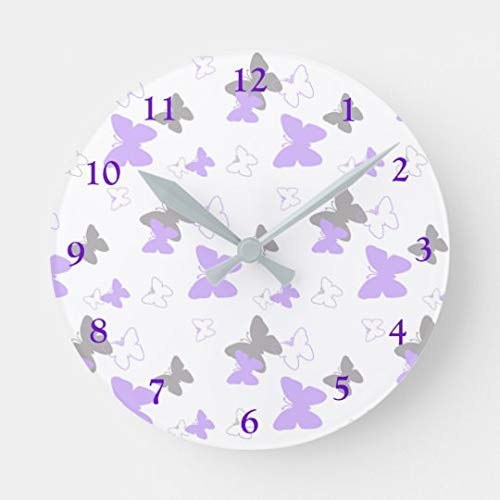 10 inch Silent Quality Quartz Butterfly Purple Lavender Gray Grey Baby Girl Wall Clock for Home Office School Decor Clock