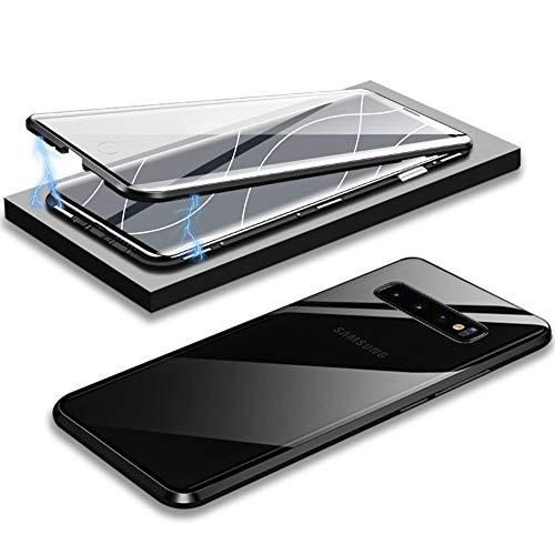 EATCYE Kompatible mit Galaxy S10 Hülle, Ultra Dünn Magnetische Adsorption Metallrahmen Hülle 360 Grad Komplettschutz mit Doppelseitig Gehärtetes Glas Transparente Displayschutzfolie (Schwarz)