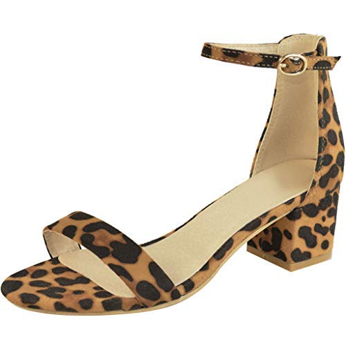 Behkiuoda Women Summer Sandals Leopard Print Shoes Ladies Ankle Buckle Thick Heel Beach Party Sandals Yellow