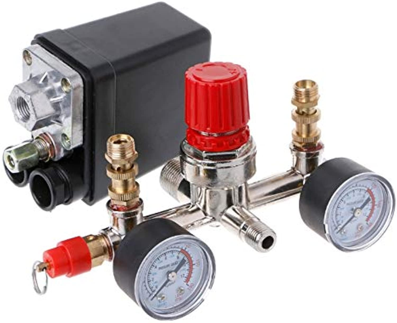 Pressure Regulating Valve Regulator Heavy Duty Air Compressor Pump Pressure Control Switch with Valve Gauge