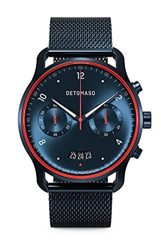 DETOMASO SORPASSO Limited Edition Velocita Blau Rot Herren-Armbanduhr Analog Quarz Mesh Milanese