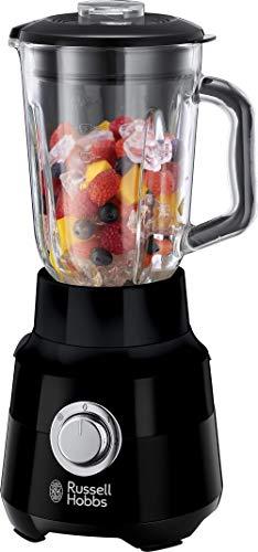 Russell Hobbs Mixeur Blender Electrique 1,5L, 4 Lames, Bol verre, Lames Amovibles, Nettoyage Facile - Noir 24722-56 Matte Black
